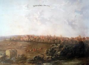 Die älteste Dorfansicht, ein Gemälde des Paderborner Hofmalers Carl Ferdinand Fabritius, von 1666